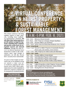 Cover photo for Virtual Conference on Heirs' Property & Sustainable Forest Management
