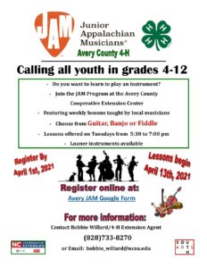 Cover photo for Avery County 4-H Partners With Avery JAM